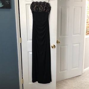 Black floor length with beaded bodice